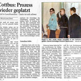 Zeitungsbericht der Lausitzer Rundschau vom 12.12.2000 zum geplatzten Lauchhammer Mordprozess