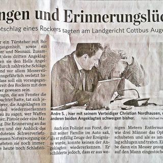 Zeitungsbericht der Lausitzer Rundschau vom 22.10.2013 zum Prozess eines Rockers zum versuchten Totschlag
