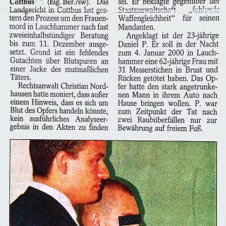 Zeitungsbericht der Lausitzer Rundschau zum Lauchammer Frauenmord
