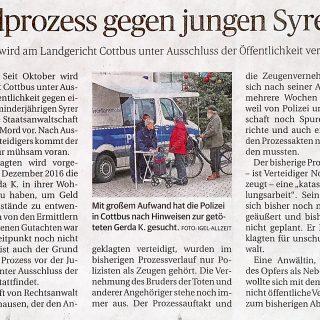 Zeitungsbericht der Lausitzer Rundschau vom 09.03.2018 zum Mordprozess an Oma durch jungen Syrer in Cottbus.