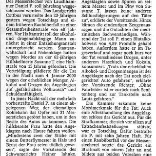 Zeitungsbericht der Sächsischen Zeitung vom 19.07.2001 zum Urteil des Lauchhammer Messerstechers