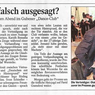 Zeitungsbericht vom 10.11.1999 zum Prozess der Gubener Hetzjagd